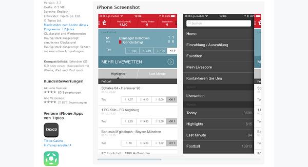 Die Tipico App kann im App Store für iPhone oder iPad kostenlos geladen werden (Quelle: Tipico)