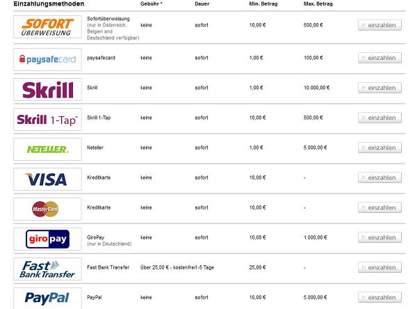Tipico bietet mobil zahlreiche Zahlungsmethoden an (Quelle: Tipico)