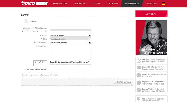Der Kundensupport von Tipico ist über E-Mail oder deutschsprachigen Live-Chat erreichbar (Quelle: Tipico)