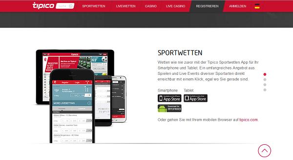 Die mobile App von Tipico steht für iOS, Android und als HTML5-Version bereit (Quelle: Tipico)