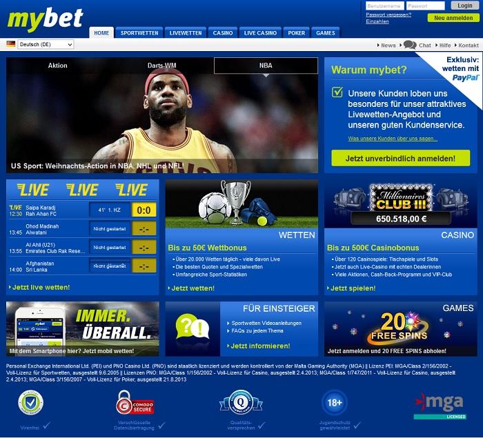 mybet bietet ein umfangreiches Wettangebot und viele Vorteile für Sportwettenfreunde (Quelle: mybet)