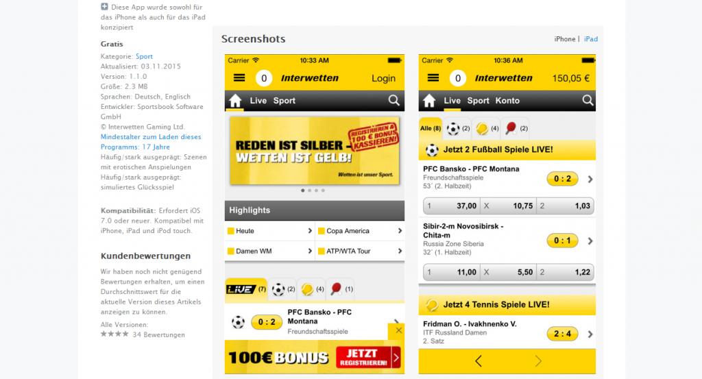 Das Design der Interwetten App ist klar und leicht verständlich (Quelle: Interwetten)