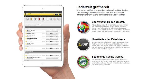 Über die App stehen alle Features und das gesamte Wettangebot von Interwetten bereit (Quelle: Interwetten)