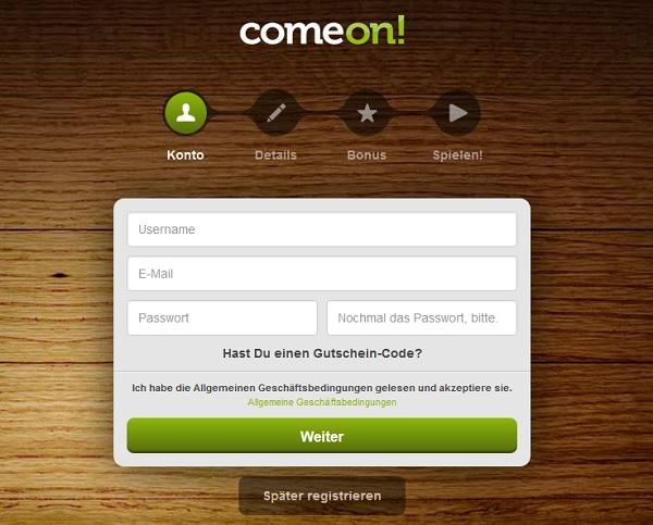 Mit ein paar Angaben schnell ein Wettkonto bei ComeOn anlegen (Quelle: ComeOn)