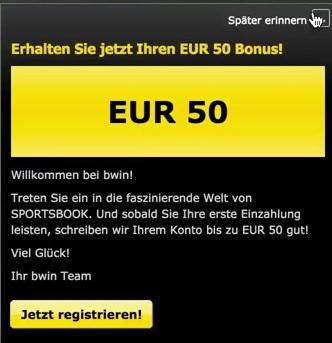 Bis zu 50 Euro erhalten Neukunden bei bwin als Bonus (Quelle: bwin)