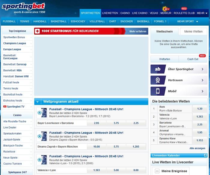 Eine pauschale Mindesteinzahlung bietet Sportingbet (Quelle: Sportingbet)