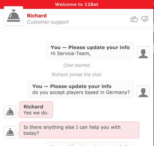 12bet Kundenservice