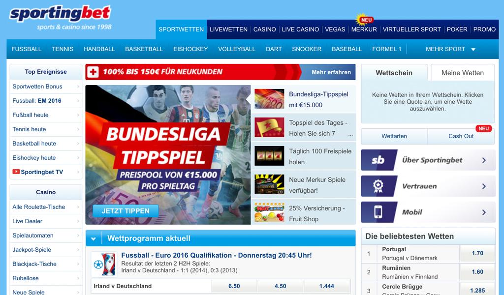 Das Wettangebot von Sportingbet (Quelle: Sportingbet)