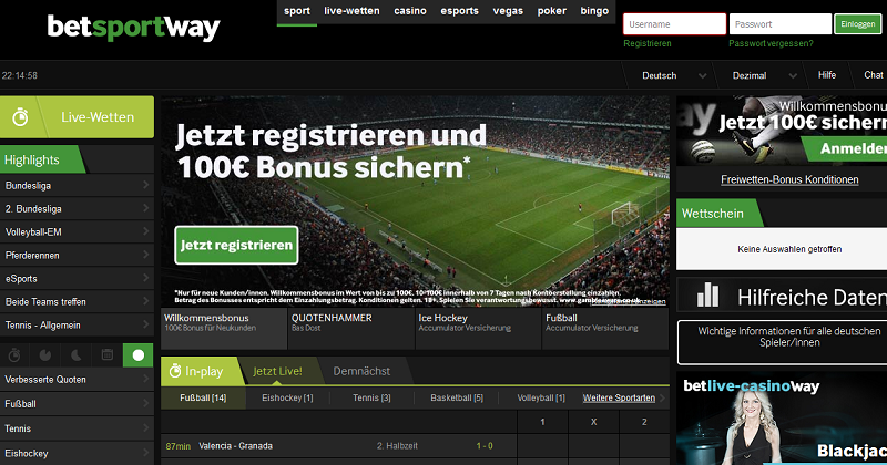 Die Startseite der Betway-Homepage (Quelle: Betway)
