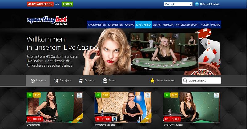 Live-Casino bei Sportingbet (Quelle: Sportingbet)