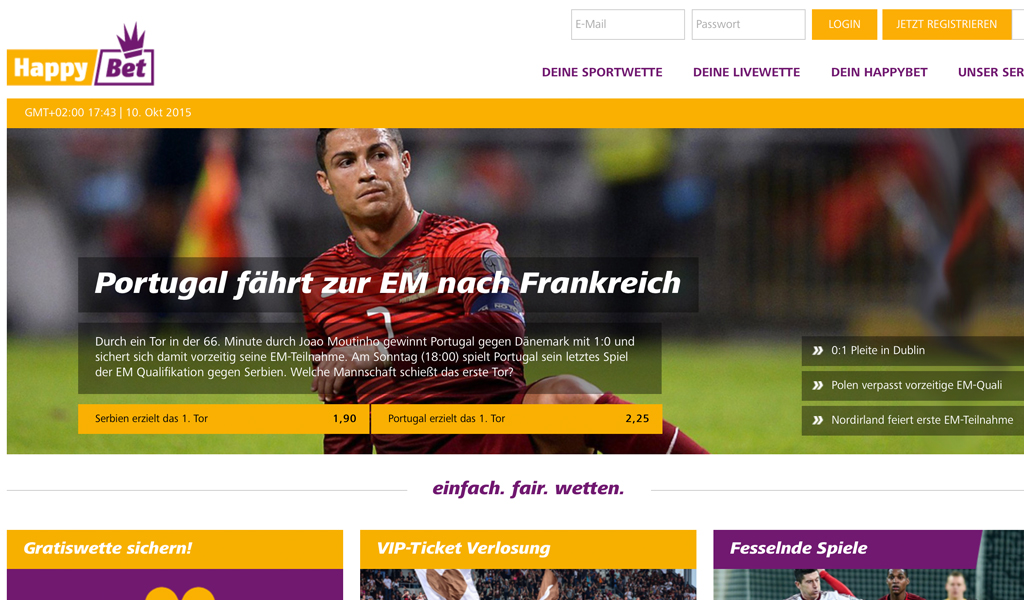 Die Startseite der HappyBet-Homepage (Quelle: HappyBet)