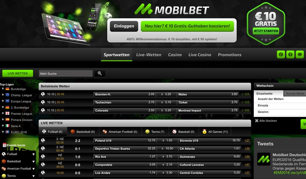 Die Startseite der Mobilbet-Homepage auf einen Blick (Quelle: Mobilbet)