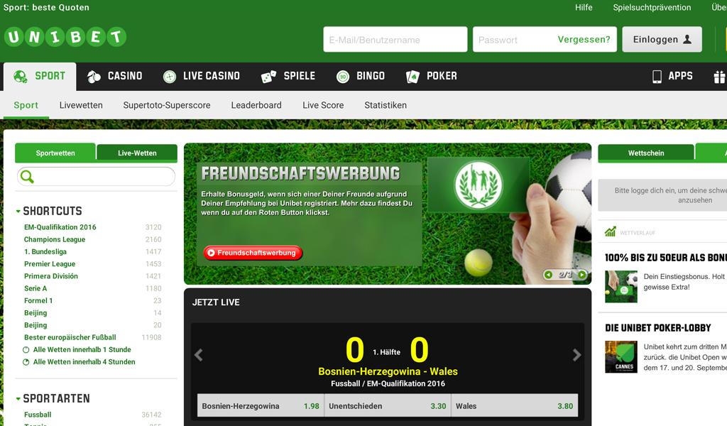 Das Unibet-Wettangebot auf der Homepage (Quelle: Unibet)