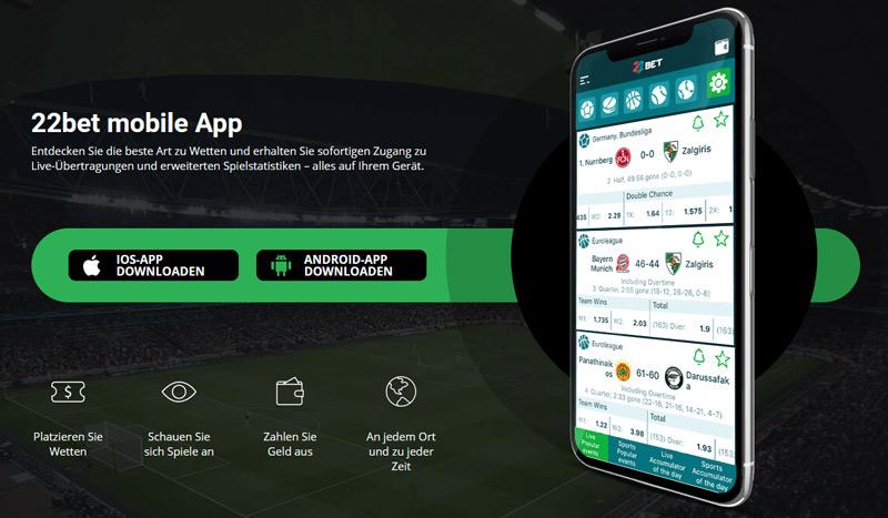 Mobile App von 22bet