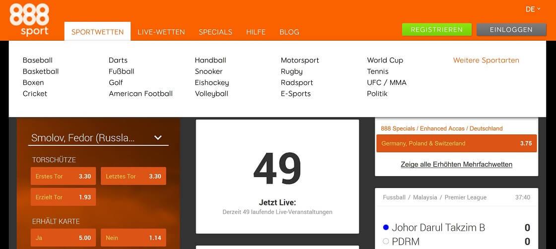 888Sport Website Übersicht