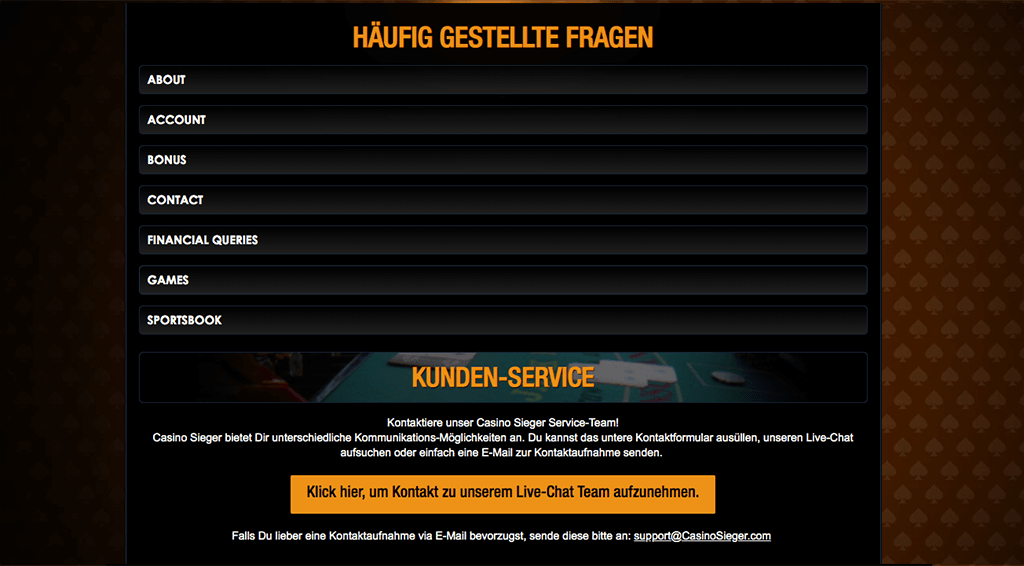 Casino Sieger Sportwetten Erfahrungsbericht – Kundenservice