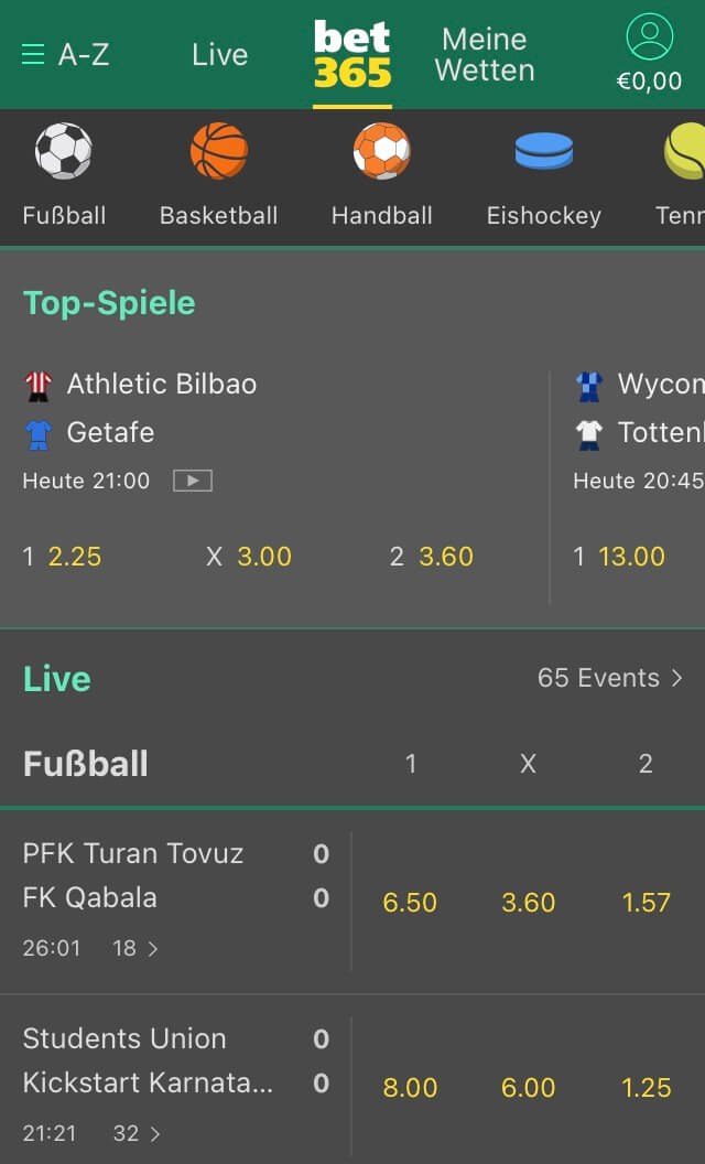 Mobile Ansicht bet365