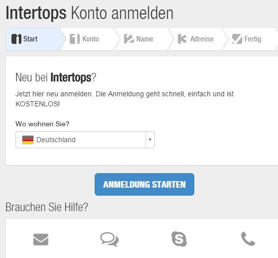 Ein Benutzerkonto bei Intertops ist leicht eröffnet (Quelle: Intertops)
