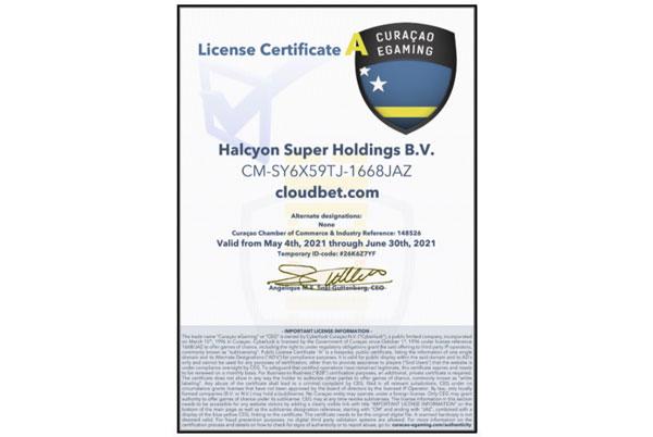 Lizenz von Cloudbet