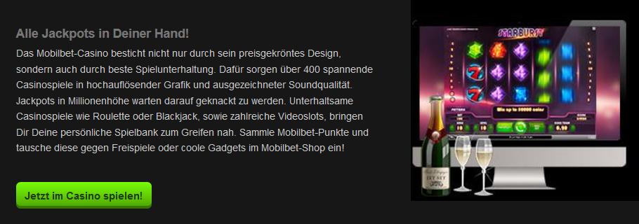 Auch das Mobilbet Casino steht mobil zur Verfügung (Quelle: Mobilbet)