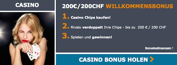 Für Casino-Kunden steht bei Rivalo ein eigener Bonus bereit (Quelle: Rivalo)