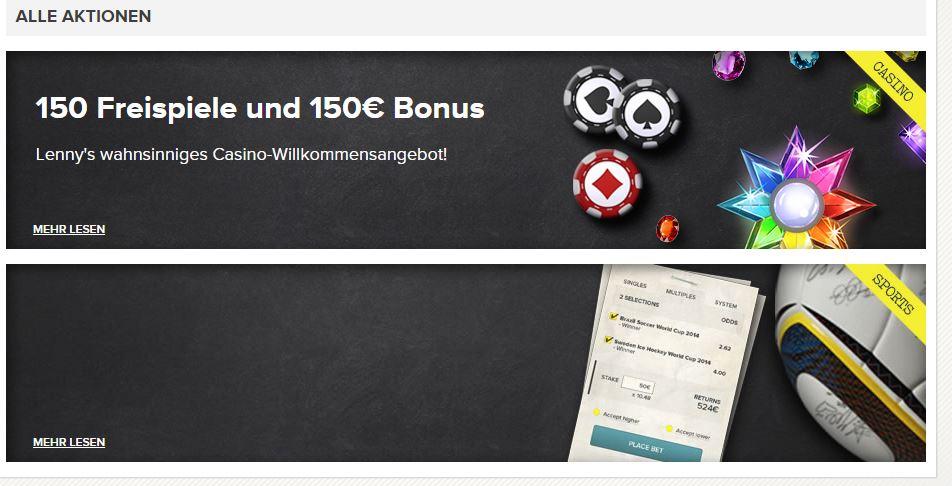 Man kann wählen zwischen Casino- oder Sports-Bonus (Quelle: SuperLenny)