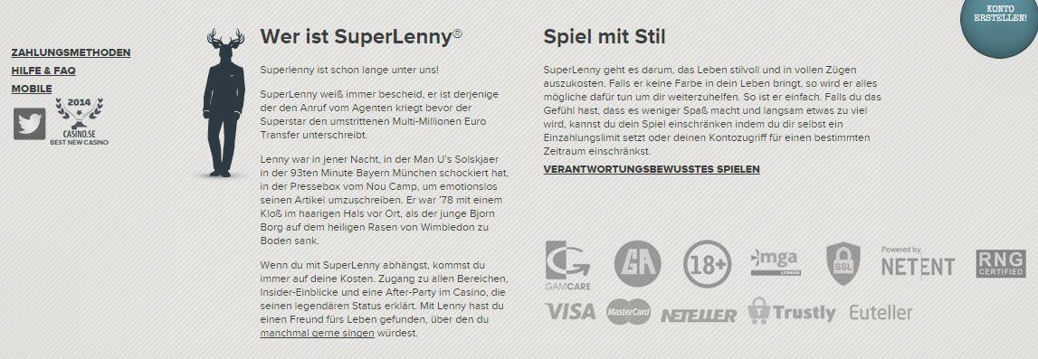 Wer ist SuperLenny? Auf der offiziellen Homepage steht's (Quelle: SuperLenny)