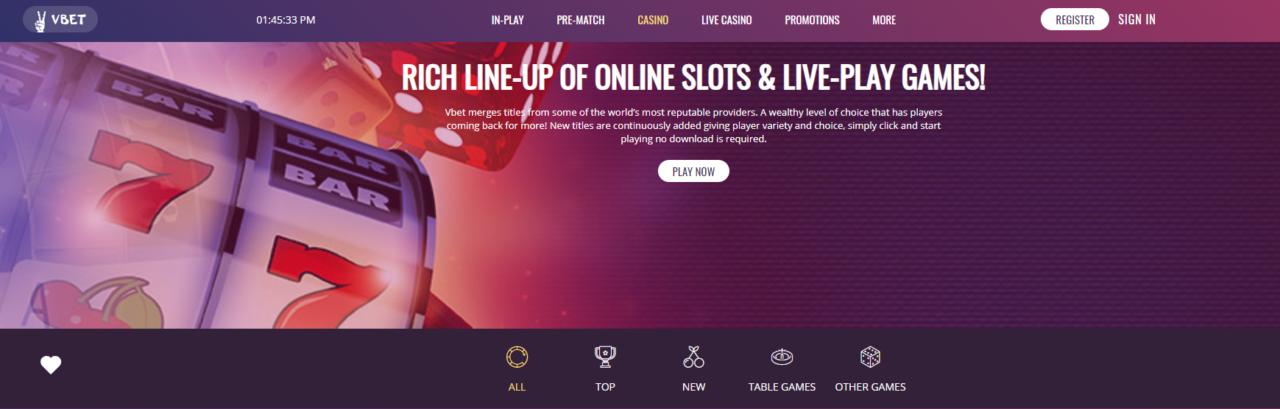 Vbet Casino Slots Table games