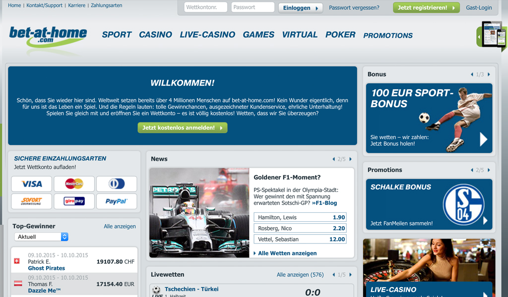 Startseite des Wettanbieters bet-at-home.com (Quelle: bet-at-home.com)