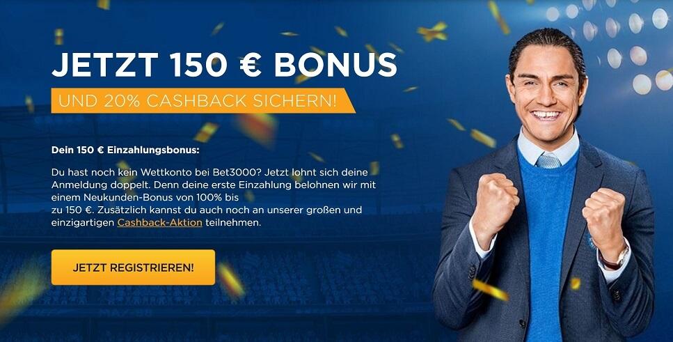 Bet3000 Bonus mit Cashback