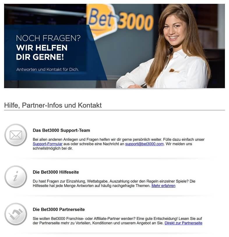 Kundenservice von Bet3000