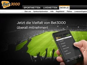 Die mobile App von Bet3000 (Quelle: Bet3000)