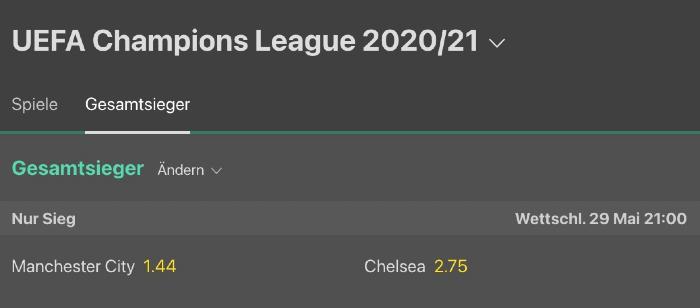 Langzeitwetten der Champions League bei bet365