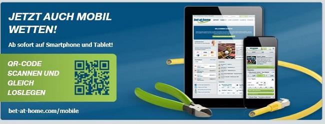 Die mobile Webseite von bet-at-home.com ähnelt dem klassischen Webseiten-Angebot (Quelle: bet-at-home.com)