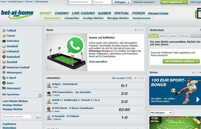 Das Sportwetten-Angebot von bet-at-home.com (Quelle: bet-at-home.com)