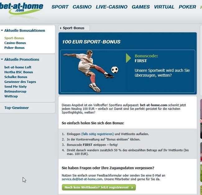Der Willkommensbonus von bet-at-home.com (Quelle: bet-at-home.com)