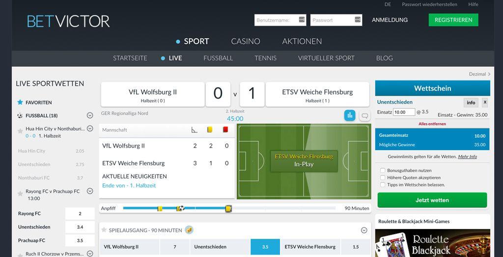 Fußball-Live-Begegnung beim Wettanbieter BetVictor (Quelle: BetVictor)