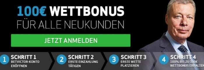100% bis 100 € können sich BetVictor-Neukunden sichern (Quelle: BetVictor)