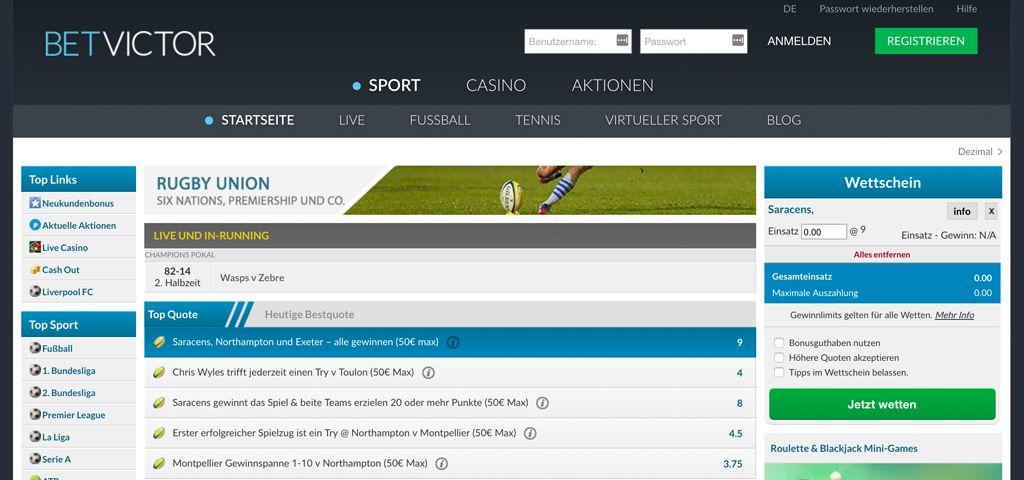 Rugby-Live-Wette beim Buchmacher BetVictor (Quelle: BetVictor)