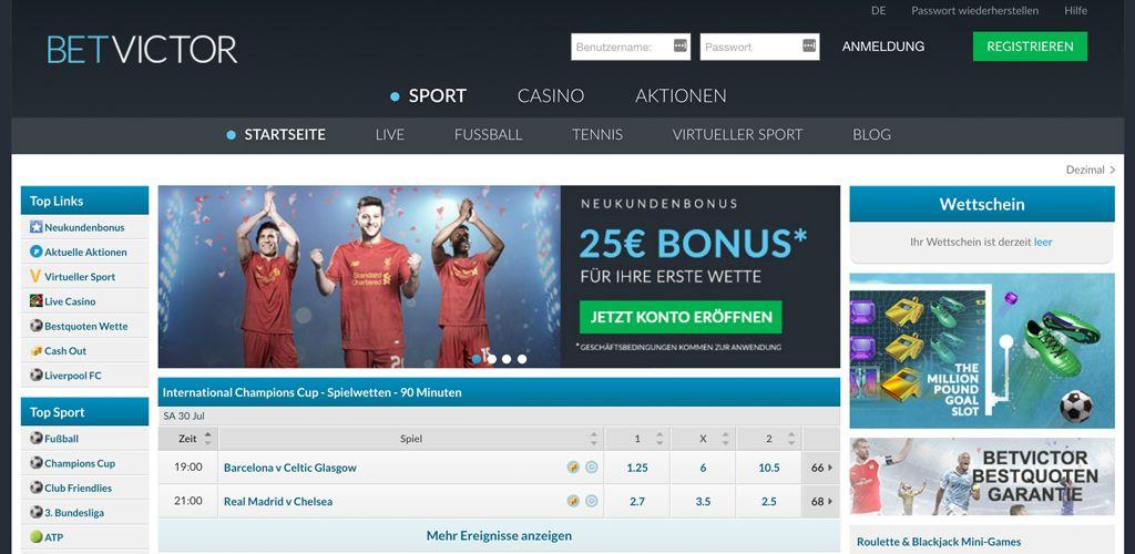 Die Startseite von BetVictor mit dem Sportwetten-Angebot (Quelle: BetVictor)