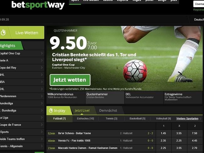 Das umfangreiche Sportwetten-Angebot von Betway (Quelle: Betway)