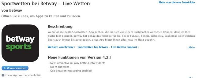 Die Betway App kann kostenlos aus dem App Store geladen werden (Quelle: Betway)