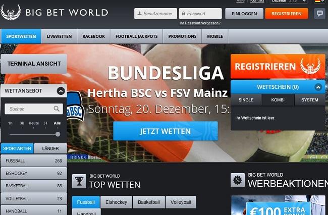 Die Online-Wettplattform von Big Bet World (Quelle: Big Bet World)