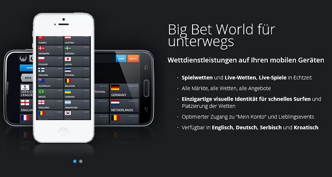 Das mobile App-Angebot von Big Bet World (Quelle: Big Bet World)