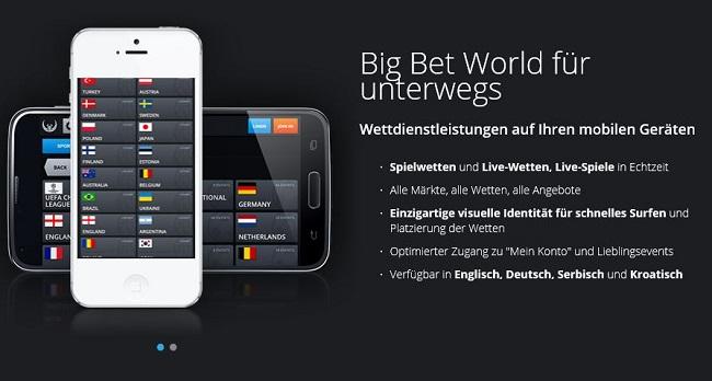 Mobile-App-Angebot von Big Bet World (Quelle: Big Bet World)