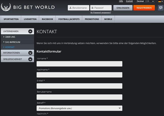 Über das Kontaktformular den Service von Big Bet World erreichen (Quelle: Big Bet World)