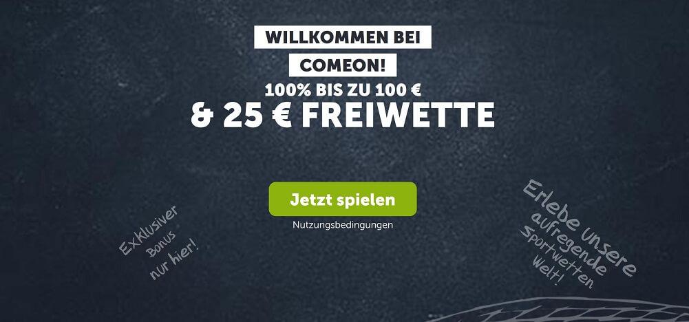 ComeOn gewährt auf die erste Einzahlung bis zu 100€ Bonus und schenkt neuen Spielern eine 25€ Gratiswette (Quelle: ComeOn)