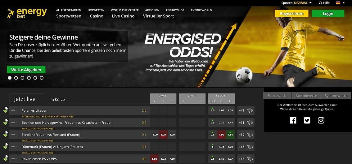 Energybet Website Übersicht