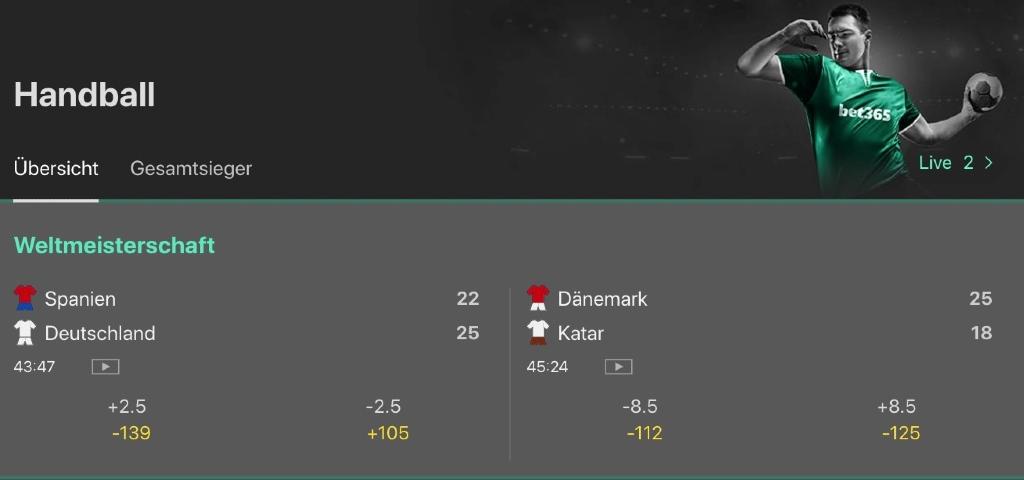 Handballwetten bei bet365
