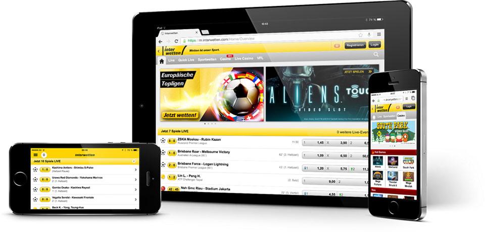 Mobile App von Interwetten (Quelle: Interwetten)